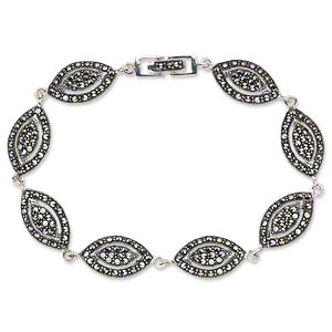 Bracelet, Signity® Marcasite (natural) Antiqued Sterling Silver, 18x10mm Domed Marquise Cutout Design, 7 Inches Fold-over Clasp. Sold Individually 1583JC