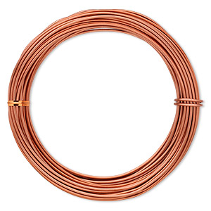 Wire, Anodized Aluminum, Orange Copper, 2mm Round, 12 Gauge. Sold Per Pkg 45 Feet