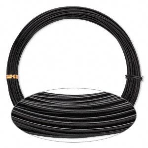 Wire, Anodized Aluminum, Black, 1.5mm Round, 14 Gauge. Sold Per Pkg 45 Feet