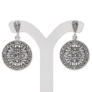 Earring, Antiqued Sterling Silver Signity® Marcasite (natural), 31x19mm 19mm Flat Round Flower Design, Earnuts Included. Sold Per Pair 1587JC