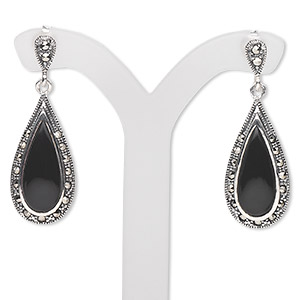 Earring, Antiqued Sterling Silver / Marcasite / Black Agate (natural / Dyed), 34x12mm Earstud 22x12mm Teardrop, Earnuts Included. Sold Per Pair 1588JC