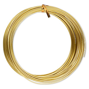 Wire, Anodized Aluminum, Gold, 1.5mm Round, 14 Gauge. Sold Per Pkg 45 Feet