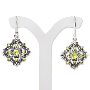 "Earring, antiqued sterling silver / marcasite / ""peridot"" glass (natural / imitation), 19x19mm filigree diamond drop with earwire. Sold per pair."