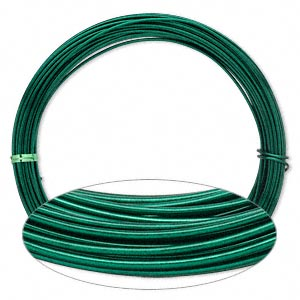 Wire, Painted Aluminum, Green, Round, 14 Gauge. Sold Per Pkg 45 Feet