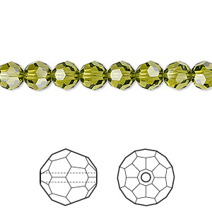 Bead, Swarovski® Crystals, Crystal Passions®, Olivine, 6mm Faceted Round (5000). Sold Per Pkg 12 5000