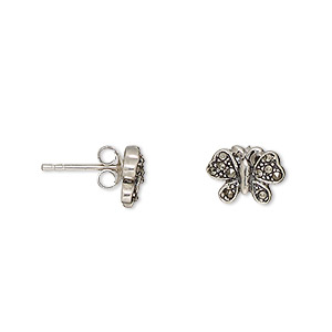 Earstud, Signity® Marcasite (natural) Antiqued Sterling Silver, 10x8mm Butterfly Post. Sold Per Pair 1591JC