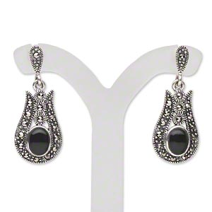 Earring, Signity® Marcasite (natural) / Black Agate (dyed) / Antiqued Sterling Silver, 30mm 7x5mm Oval 2mm Faceted Round Post. Sold Per Pair 1592JC