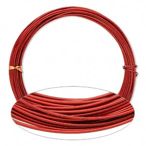 Wire, Painted Aluminum, Red, Round, 14 Gauge. Sold Per Pkg 45 Feet
