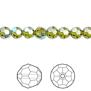 Bead, Swarovski® Crystals, Crystal Passions®, Olivine AB, 6mm Faceted Round (5000). Sold Per Pkg 12 5000