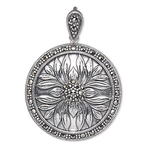 Pendant, Marcasite (natural) Antiqued Sterling Silver, 29mm Flat Round Flower Design. Sold Individually 1593JC
