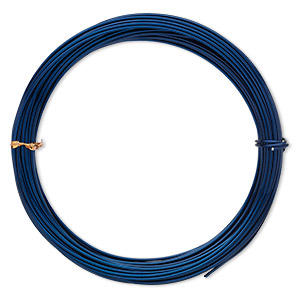 Wire, Anodized Aluminum, Sapphire Blue, Round, 14 Gauge. Sold Per Pkg 45 Feet