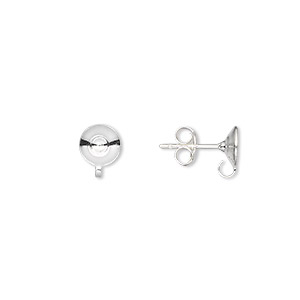 Earstud, Sterling Silver, 6mm Cup Open Loop, Fist 8-10mm Bead. Sold Per Pkg 5 Pairs