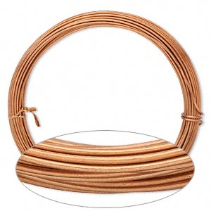Wire, Anodized Aluminum, Copper, 1.5mm Round, 14 Gauge. Sold Per Pkg 45 Feet