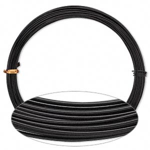 Wire, Anodized Aluminum, Black, 1.25mm Round, 16 Gauge. Sold Per Pkg 45 Feet