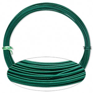 Wire, Painted Aluminum, Green, Round, 16 Gauge. Sold Per Pkg 45 Feet