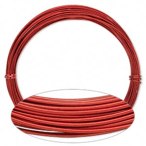 Wire, Painted Aluminum, Red, Round, 16 Gauge. Sold Per Pkg 45 Feet