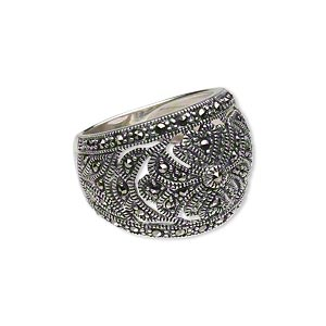 Ring, Signity® Marcasite (natural) Antiqued Sterling Silver, 5-17mm Wide Tapered Band Cutout Flower Design, Size 8. Sold Individually 1604JC