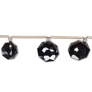 Bead, Black Spinel (natural), 8x8mm-10x10mm Graduated Hand-cut Top-drilled Faceted Octagon, B+ Grade, Mohs Hardness 8. Sold Per Pkg 4 Beads