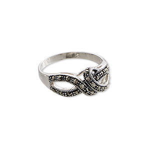 Ring, Signity® Marcasite (natural) Antiqued Sterling Silver, 19x9mm Knot, Size 8. Sold Individually 1605JC