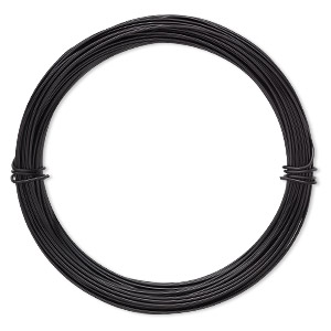 Wire, Anodized Aluminum, Black, 1mm Round, 18 Gauge. Sold Per Pkg 45 Feet