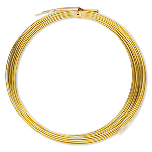 Wire, Anodized Aluminum, Gold, 1mm Round, 18 Gauge. Sold Per Pkg 45 Feet