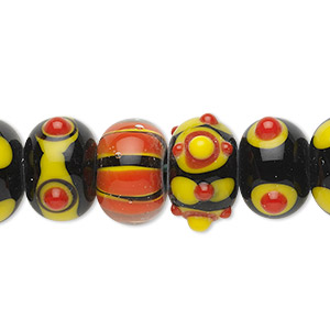 Bead, Lampworked Glass, Assorted Black / Orange / Yellow, 14x10mm Rondelle. Sold Per Pkg 20
