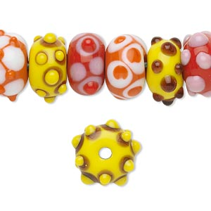 Bead, Lampworked Glass, Assorted Colors, 14x8mm Rondelle. Sold Per Pkg 20