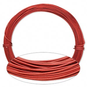 Wire, Painted Aluminum, Red, Round, 18 Gauge. Sold Per Pkg 45 Feet