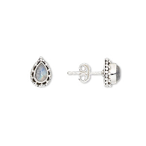 Earstud Earrings Rainbow Moonstone Silver Colored