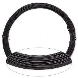 Wire, Anodized Aluminum, Black, 0.8mm Round, 20 Gauge. Sold Per Pkg 45 Feet