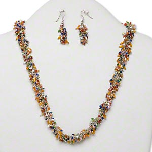Necklace and earring set silver plated brass and iron for Jewelry just for fun