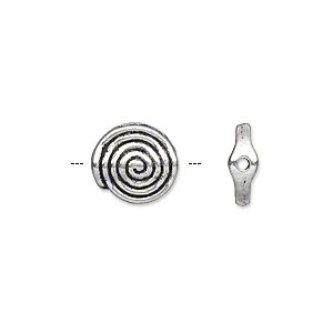 "Bead, Antique Silver-plated ""pewter"" (zinc-based Alloy), 11mm Double-sided Flat Round Spiral. Sold Per Pkg 500"
