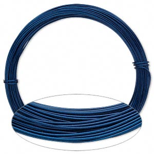 Wire, Anodized Aluminum, Sapphire Blue, Round, 20 Gauge. Sold Per Pkg 45 Feet