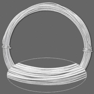 Wire, Anodized Aluminum, Silver, 0.8mm Round, 20 Gauge. Sold Per Pkg 45 Feet