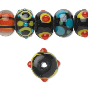 Bead, Lampworked Glass, Assorted Colors, 14x10mm Rondelle. Sold Per Pkg 20