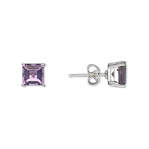 Earstud Earrings Amethyst Silver Colored