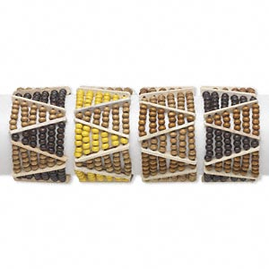 Bracelet, Stretch, Wood (natural / Dyed), Multicolored, 5x4mm Rondelle, 6-1/2 Inches. Sold Per Pkg 4 1634JU