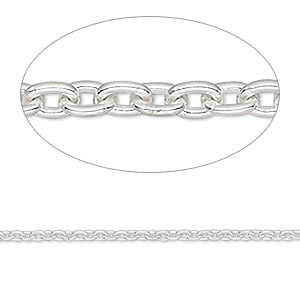 Chain, Sterling Silver, 2x1.5mm Cable. Sold Per 50-foot Spool