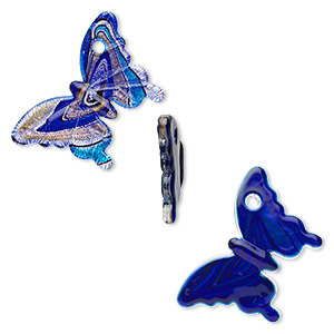 Focal, Lampworked Glass, Blue / Light Blue / Black Silver-colored Foil Copper-colored Glitter, 56x54mm Butterfly. Sold Individually
