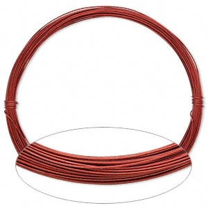Wire, Painted Aluminum, Red, Round, 24 Gauge. Sold Per Pkg 45 Feet