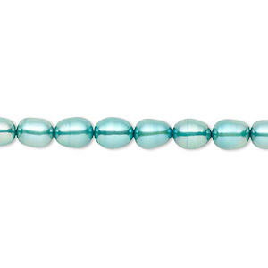 Pearl, Cultured Freshwater (dyed), Teal, 5-6mm Rice, C+ Grade, Mohs Hardness 2-1/2 4. Sold Per 16-inch Strand