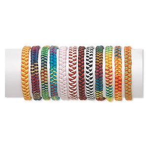 Bracelet Mix, Nylon, Multicolored, 5-7mm Wide, Adjustable 6-9 Inches Tie Closure. Sold Per Pkg 12 1647JU