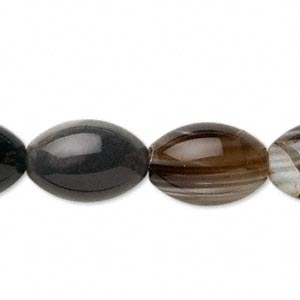Bead, Striped Black Agate (dyed), 14x12mm-17x12mm Oval, B Grade, Mohs Hardness 6-1/2 7. Sold Per 15-inch Strand