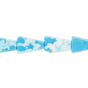 Bead, Magnesite (dyed / Stabilized), Blue White, 13x8x4mm-14x8x5mm Triangle, C Grade, Mohs Hardness 3-1/2 4. Sold Per 16-inch Strand