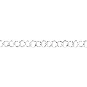 Chain, Sterling Silver, 3.5mm Round. Sold Per 5-foot Spool