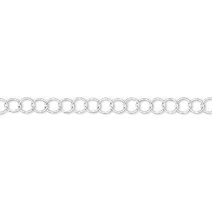 Chain, Sterling Silver, 3.5mm Round. Sold Per 25-foot Spool