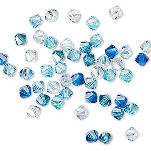 Approx Aquamarine AB Color 4mm Swarovski Crystal Bicone 5328 144 PCS