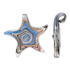 Focal, Lampworked Glass, Periwinkle Blue / Purple / Black Silver-colored Foil Copper-colored Glitter, 54x54mm Starfish Swirl Pattern. Sold Individually