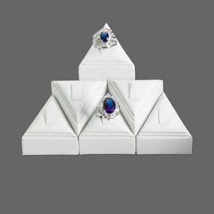 Leatherette Tall Pedestal Ring Display Set, White. Sold Per Set 6 Displays