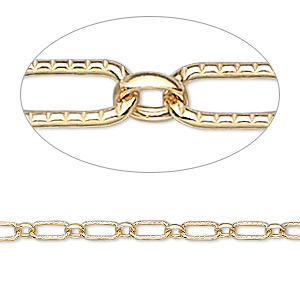Chain, 14Kt Gold-filled, 3mm Round Ribbed Oval. Sold Per Pkg 5 Feet